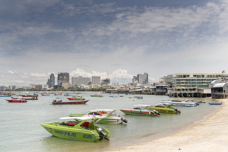 Pattaya, Thailand , September 9, 2019: View of the Gulf of Siam and the city.