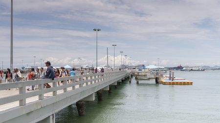 Pattaya, Thailand , September 9, 2019: Tourists on the pier of pleasure boats Sajtókép