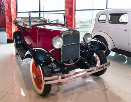 Kamensk-Shakhtinsky, Russia-August 17, 2019:  GAZ-A-licensed copy of the car Ford-A. Produced on the GAZ from 1932 to 1936- in the Museum of the Legend of the USSR Sajtókép