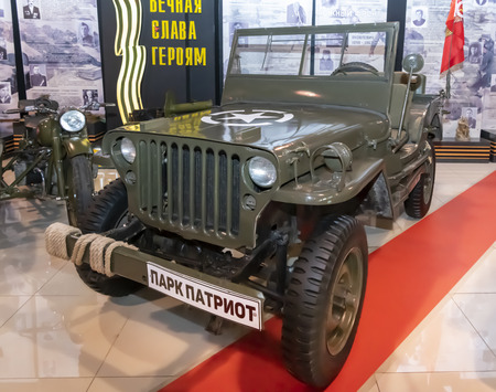 Kamensk-Shakhtinsky, Russia-August 17, 2019: Willys MB - The American army all-terrain vehicle of the 2nd World War. Series production 1941-1945- in the Museum of the Legend of the USSR