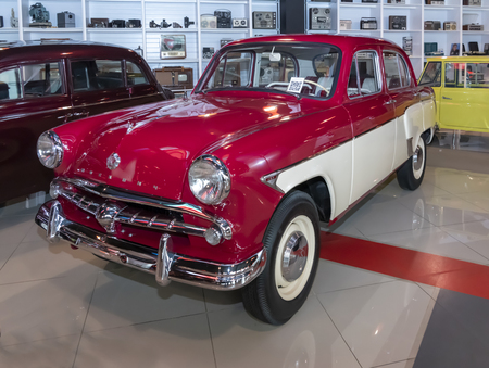 Kamensk-Shakhtinsky, Russia-August 17, 2019: Moskvich 407-Soviet small-class car was produced by ZMA from 1958 to 1963- in the Museum of the Legend of the USSR Sajtókép