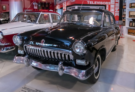 Kamensk-Shakhtinsky, Russia-August 17, 2019: GAZ 21 Volga car, (1 series, 1956) - in the Museum of the Legend of the USSR