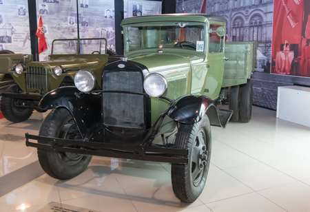 Kamensk-Shakhtinsky, Russia-August 17, 2019: GAZ-AA (one and a half) -GAZ truck; produced from 1932 to 1950- in the Museum of the Legend of the USSR