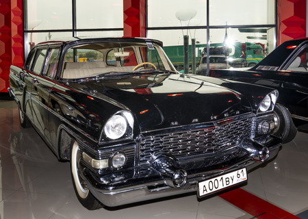 Kamensk-Shakhtinsky, Russia-August 17, 2019:  GAZ-13 Chaika-Soviet Executive car of a large class, assembly at the GAZ c 1959 to 1981- in the Museum of the Legend of the USSR
