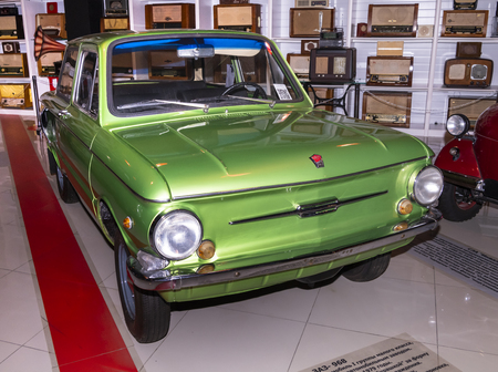 Kamensk-Shakhtinsky, Russia-August 17, 2019: Zaporozhets ZAZ-968-Soviet small-class car was produced by ZAZ from 1971 to 1979- in the Museum of the Legend of the USSR