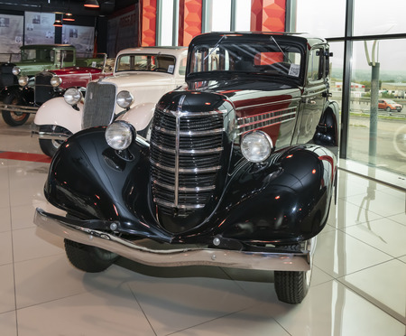 Kamensk-Shakhtinsky, Russia-August 17, 2019: GAZ M-1; Emka is Soviet passenger car; mass-produced at GAZ from 1936 to 1942.- in the Museum of the Legend of the USSR