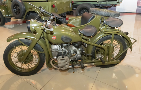 Kamensk-Shakhtinsky, Russia-August 17, 2019:  M-72 - Soviet heavy motorcycle. Produced in a large series from 1941 to 1960 - in the Museum of the Legend of the USSR