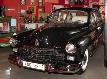 Kamensk-Shakhtinsky, Russia-August 17, 2019: ZIM (until 1957), GAZ-12 - Soviet six-seat six-window sedan- in the Museum of the Legend of the USSR