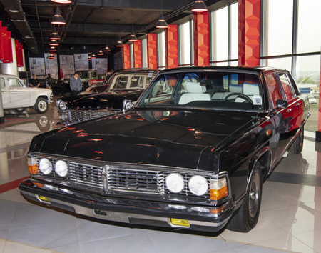 Kamensk-Shakhtinsky, Russia-August 17, 2019:  GAZ-14 Chaika-Soviet Executive car of a large class, assembly at the GAZ c 1977 to 1988- in the Museum of the Legend of the USSR