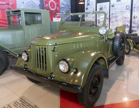 Kamensk-Shakhtinsky, Russia-August 17, 2019:  GAZ 69-Soviet off-road passenger car. Produced from 1952 to 1972 at GAZ- in the Museum of the Legend of the USSR Sajtókép