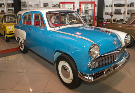 Kamensk-Shakhtinsky, Russia-August 17, 2019: Moskvich-423 - the first production car with a five-door station wagon in the USSR, produced in 1957-1963- in the Museum of the Legend of the USSR