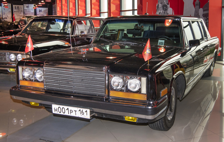 Kamensk-Shakhtinsky, Russia-August 17, 2019: ZIL 41045,1978 -Soviet car that passed 100,000 km for reasons of secrecy destroyed - in the Museum of the Legend of the USSR