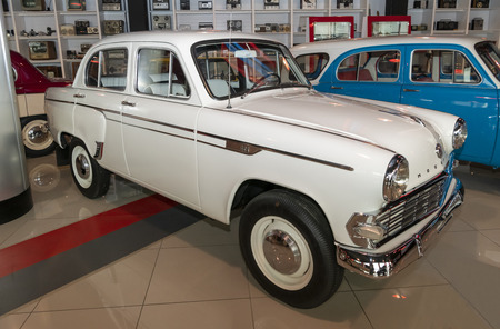 Kamensk-Shakhtinsky, Russia-August 17, 2019:  Moskvich-403E - Soviet export small car manufactured at MZMA from 1962 to 1965- in the Museum of the Legend of the USSR
