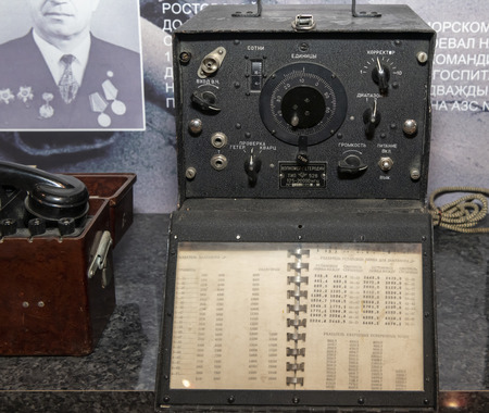 Kamensk-Shakhtinsky, Russia-August 17, 2019: Wave meter-local oscillator, type 526, 1955 (inscriptions: hundreds, units, corrector, input h.p., check, volume, power)- in the Museum of the Legend of the USSR