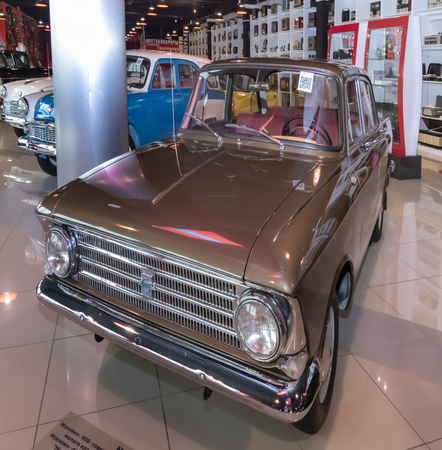 Kamensk-Shakhtinsky, Russia-August 17, 2019: Moskvich-408-Soviet small class car. Issued at the MZMA  AZLK from 1964 to 1976- in the Museum of the Legend of the USSR Sajtókép