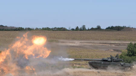 The tank fires a cannon and jumps from a springboard at the training ground