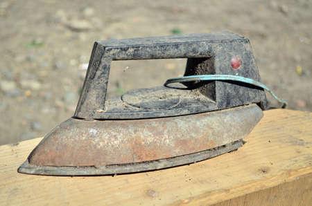Old used soviet steam iron 免版税图像
