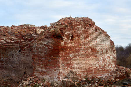 Strong walls that remained from the factory in village Stock fotó