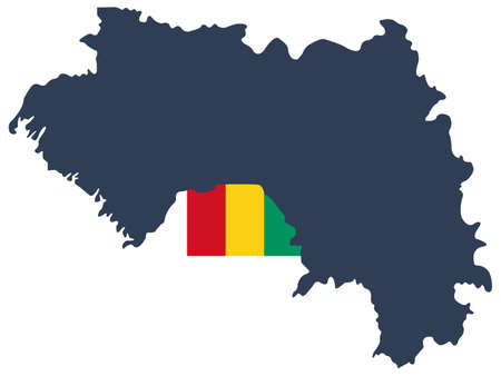 vector illustration of Guinea map with flag