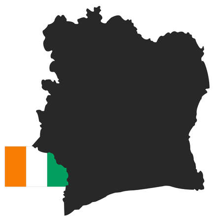 vector illustration of Ivory Coast map with flag