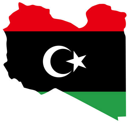 vector illustration of Libya map with flag