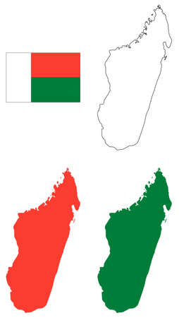 vector illustration of Madagascar map with flag