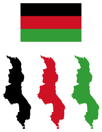 vector illustration of Malawi map with flag
