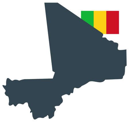 vector illustration of Mali map with flag