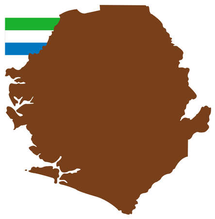 vector illustration of Sierra Leone map with flag