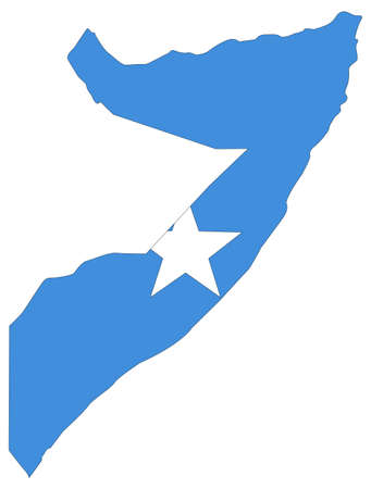 vector illustration of Somalia map with flag Vetores