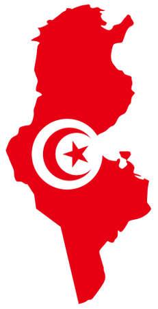 vector illustration of Tunisia map with flag Ilustração Vetorial