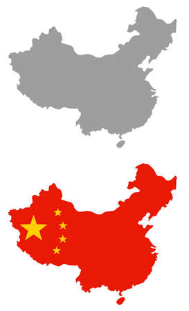 vector illustration of China map with flag
