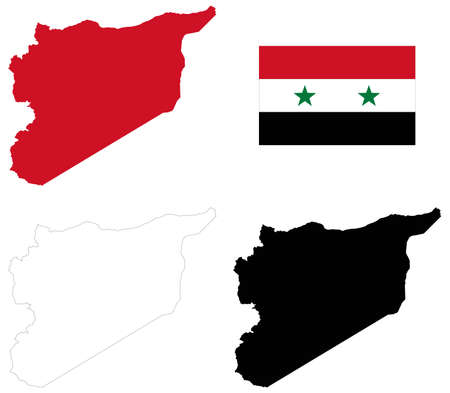 vector illustration of Syria map with flag