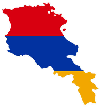 vector illustration of Armenia map with flag