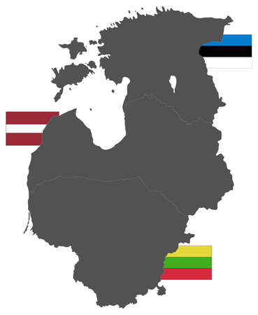 vector illustration of Baltic countries map with flags