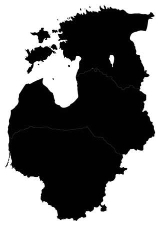 vector illustration of Baltic countries map