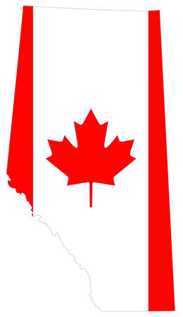 vector illustration of Alberta map with Canada flag, province or territory in Canada