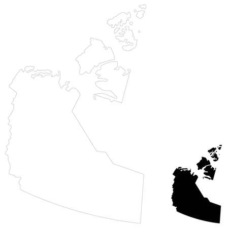 vector illustration of Northwest Territories map, province or territory in Canada