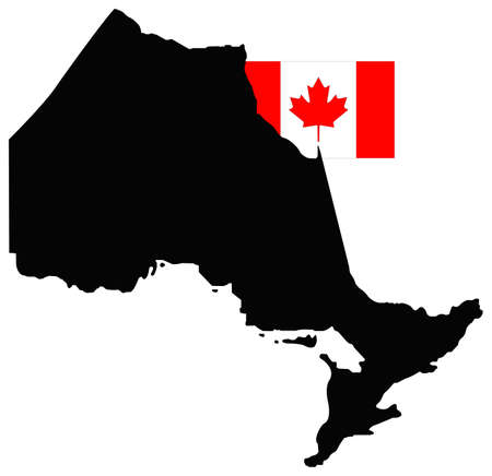vector illustration of Ontario map with Canada flag, province or territory in Canada