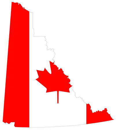 vector illustration of Yukon map with Canada flag, province or territory in Canada Ilustrace