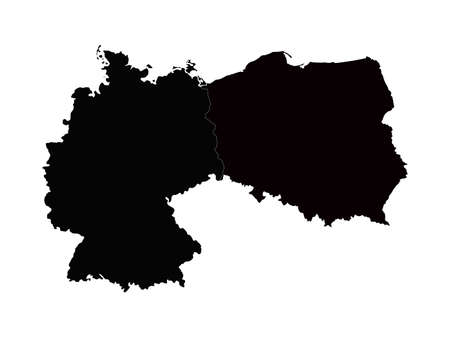 vector illustration of Germany and Poland map