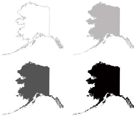 vector illustration of map of Alaska - U.S. state