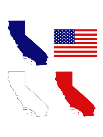 vector illustration of map of California with USA flag Ilustrace