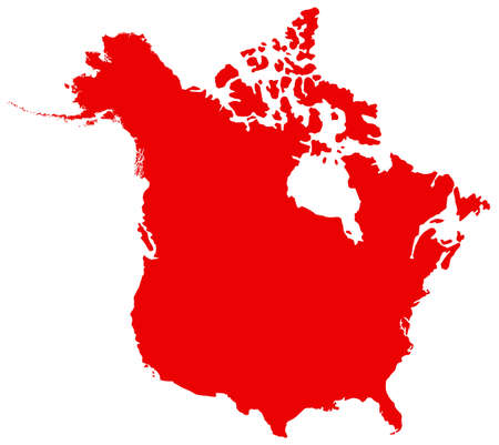 vector illustration of map of North America, USA and Canada Ilustração