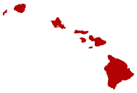 vector illustration of map of Hawaii Islands - U.S. state