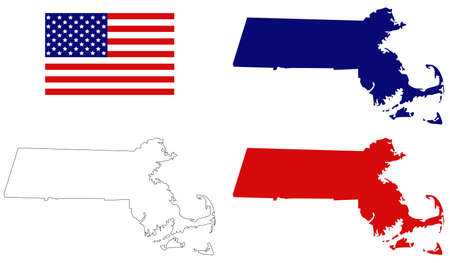 vector illustration of map of Massachusetts with USA flag