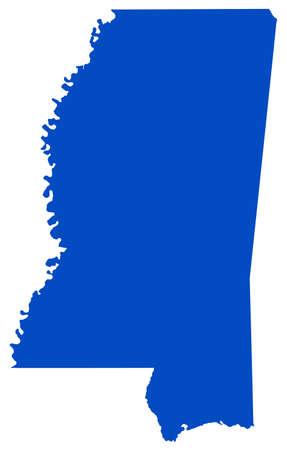 vector illustration of map of Mississippi - U.S. state