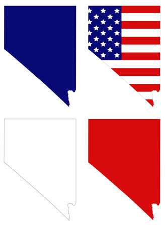 vector illustration of map of Nevada with USA flag