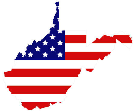 vector illustration of map of West Virginia with USA flag Vecteurs