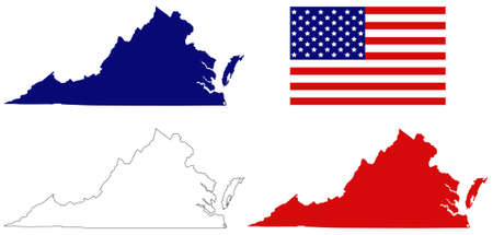 vector illustration of map of Virginia with USA flag
